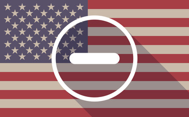 USA flag icon with a subtraction sign