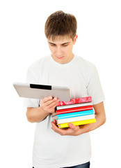 Student with a Books and Tablet