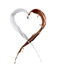 chocolate and milk heart splash