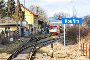 engine carriage at railway station of Kourim, Czech Republic