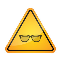 Danger signal icon with a glasses
