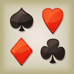 Vintage Retro Gambling Cards Icons For Casino And Poker