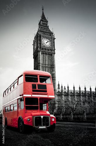 Naklejka Roter Londoner Bus vor Big Ben