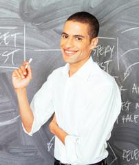 Businessman standing in front of blackboard in the office