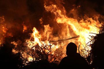 Easter bonfire in Spreewald Region, Lower Lusatia, Germany.