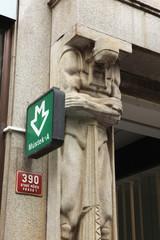 Mustek underground station sign in Prague