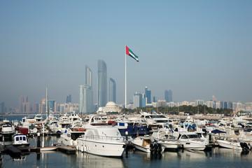 United Arab Emirates, Abu Dhabi, Skyline with harbor in foreground