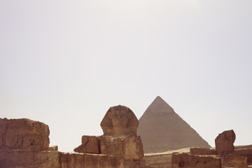 Egypt, Cairo, Giza, Picture of Sphinx and Khafra's pyramid