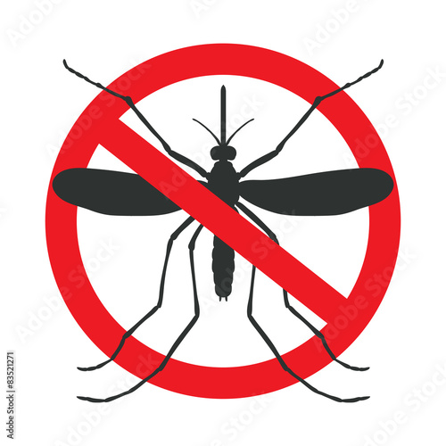 the mosquitoes stop sign - vector image of funny of a mosquito i - 83521271
