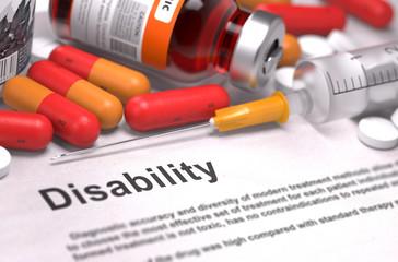 Diagnosis - Disability. Medical Concept. 3D Render.