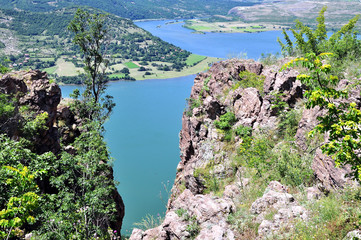 Panorama view the dam on the  great river Arda, Bulgaria