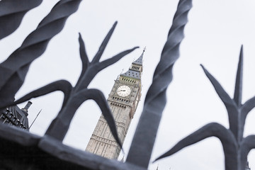 Elizabeth Tower through Iron Gates, London, England