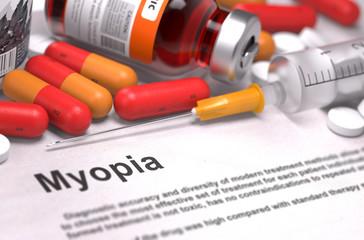 Diagnosis - Myopia. Medical Concept.