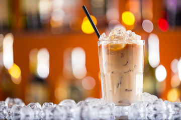 Ice coffee on bar desk