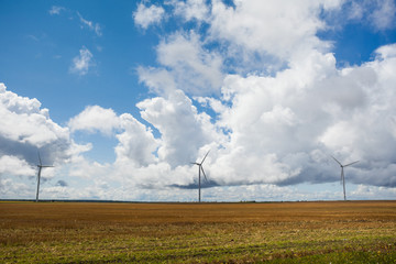 Wind turbines in the field and stormy sky