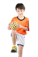 Little boy taking sepak takraw on white background