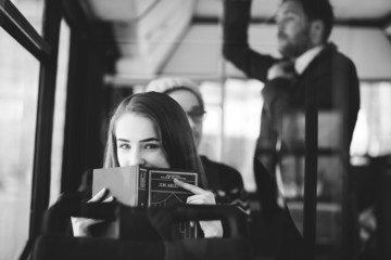 Woman on the bus reading a book