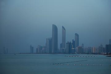 United Arab Emirates, Abu Dhabi, Skyline at dusk