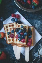Fruit and waffles on stick