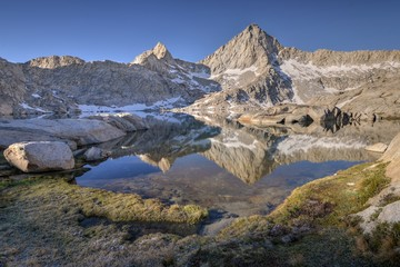 USA, California, Sequoia National Park, Sawtooth Peak reflected in Columbine Lake