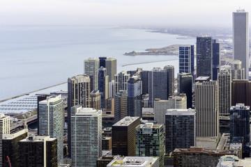 Chicago, Illinois, United States of America, Chicago Skyline Southward Along Lake Michigan