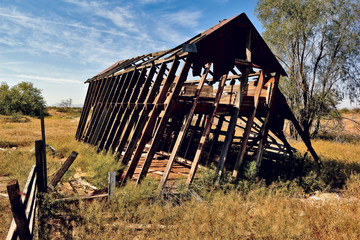 USA, Arizona, Maricopa County, Arlington, Leaning Barn of Arlington Arizona