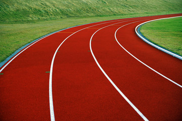 Close-up of running track