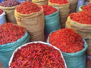 Sacks of chili peppers
