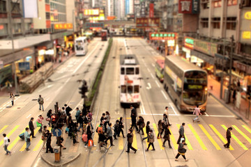 China, Causeway Bay, Hong Kong, People crossing pedestrian lane