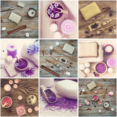 Photo collage of bath accessories
