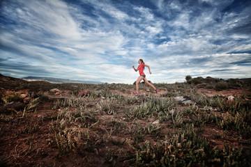 Woman cross-country running