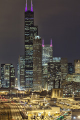 USA, Illinois, Cook County, Chicago, Willis Tower at Night