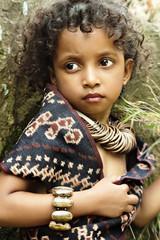 Indonesia, Portrait of girl (4-5) wearing jewellery
