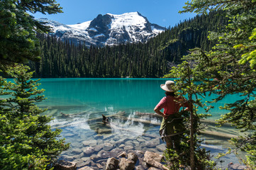 Canada, British Columbia, Joffre Lakes Provincial Park, Hiker looking at Middle Joffre Lake