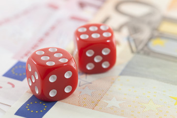 Red Dice on Euro banknotes