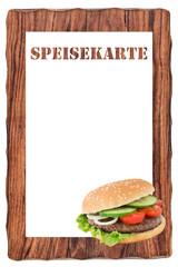 Speisekarte und Hamburger