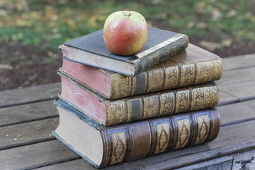 Apple sitting atop pile of old books