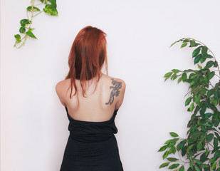 Picture of young woman's back