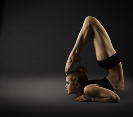 Back Bending, Woman Bowing Stretch Arch, Gymnastics Acrobat in B