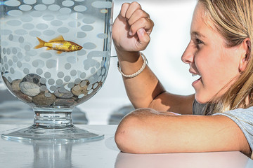 Girl and goldfish