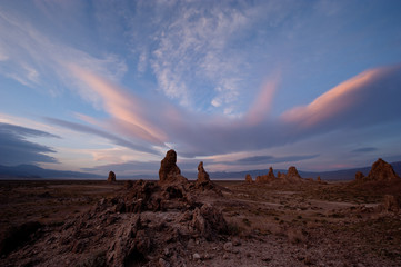 USA, California, Windy day at Trona Pinnacles