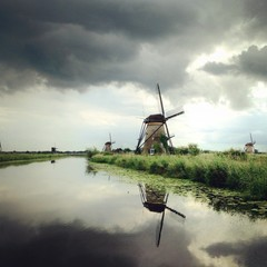 Netherlands, Kinderdijk, Windmills on grassy riverbank