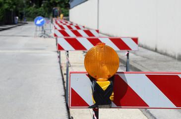 Orange lamp in roadworks