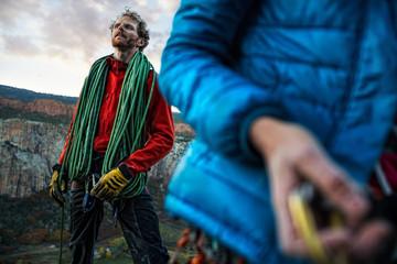 "Climbers rap up an evening climb on ""Code Red 7"""