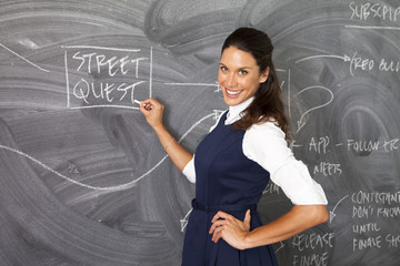 Businesswoman writing on chalk board in office