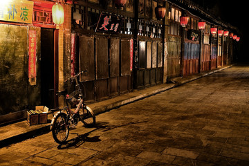 China, Pingyao, Street along the Pinyao market at night time