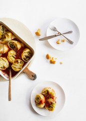 Shell pasta with zucchini and chanterelle