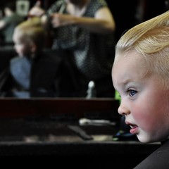 Boy at hairdressers