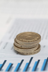 Pound coins on financial data
