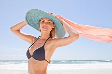 South Africa, Young Woman in Bikini on Beach